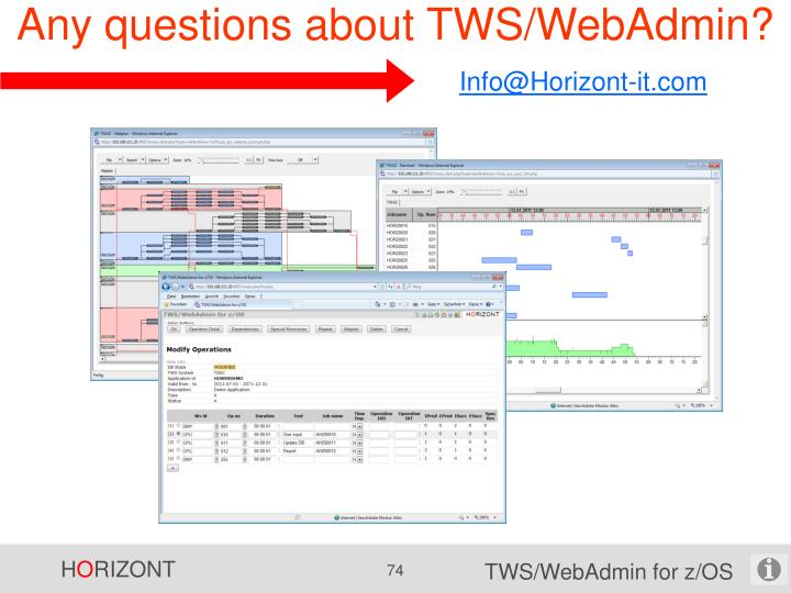 Any questions about TWS/WebAdmin?