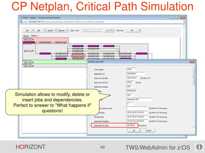 CP Netplan, Critical Path Simulation