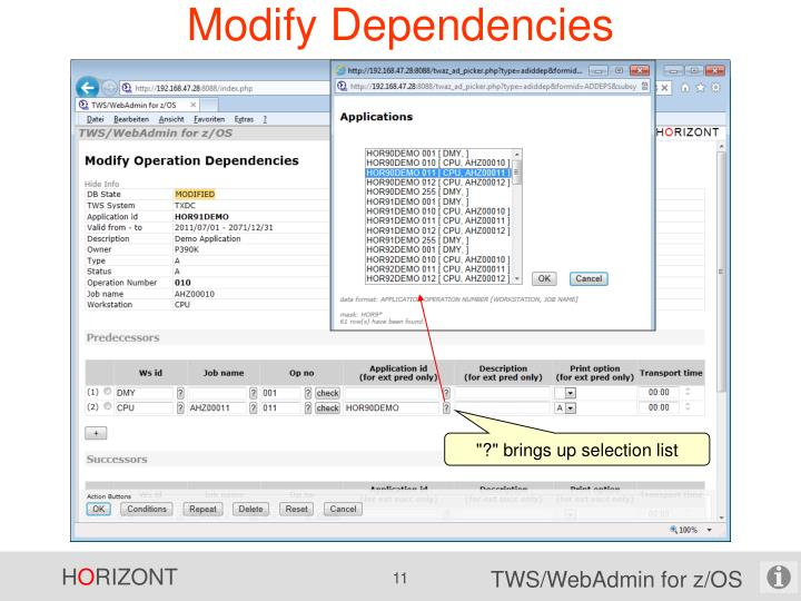 Modify Dependencies