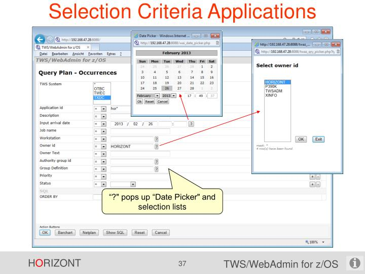 Selection Criteria Applications