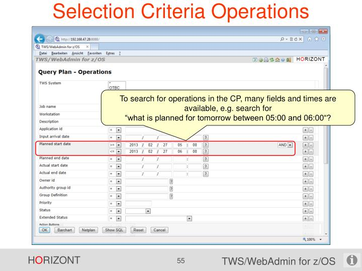 Selection Criteria Operations