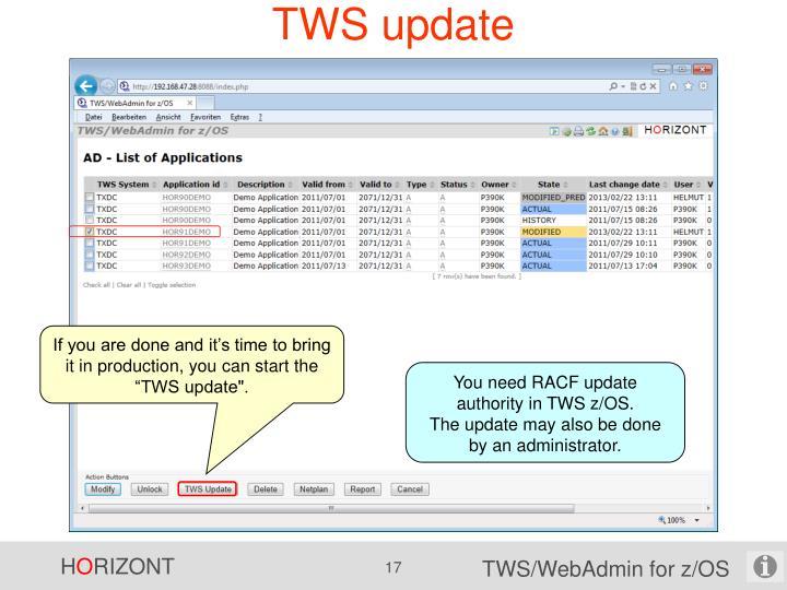TWS update
