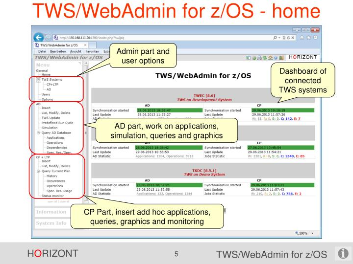 TWS/WebAdmin for z/OS - home