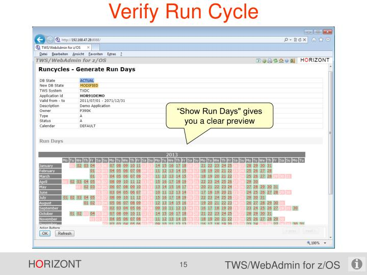 Verify Run Cycle