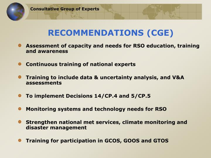 RECOMMENDATIONS (CGE)