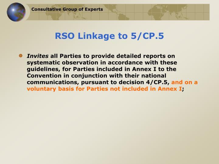 RSO Linkage to 5/CP.5