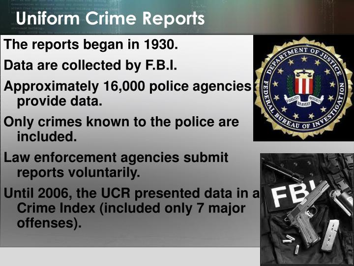 uniform crime reports part 1 offenses Part ii offenses cover the rest of the crimes recorded in the uniform crime reports part i offenses criminal homicide (murder and nonnegligent manslaughter): the will-ful (nonnegligent) killing of one human being by another.