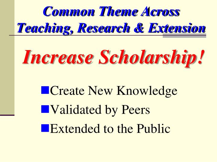 Common Theme Across Teaching, Research & Extension