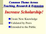 common theme across teaching research extension