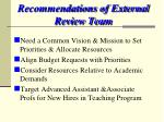 recommendations of external review team