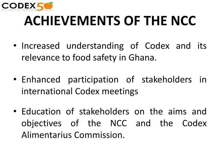 ACHIEVEMENTS OF THE NCC