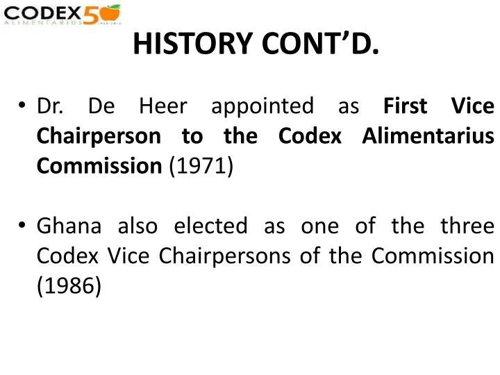 HISTORY CONT'D.
