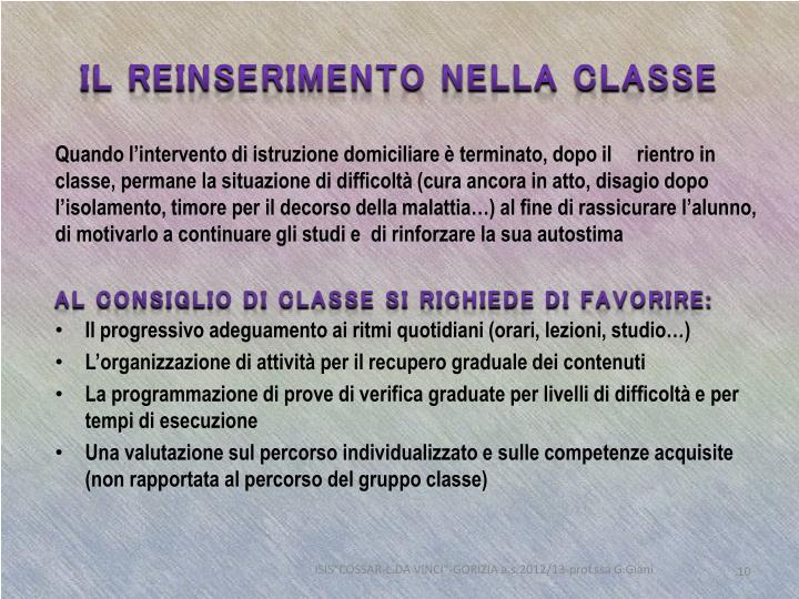 Il reinserimento nella classe