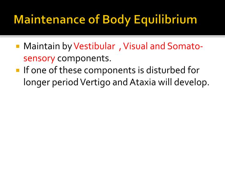 Maintenance of Body Equilibrium