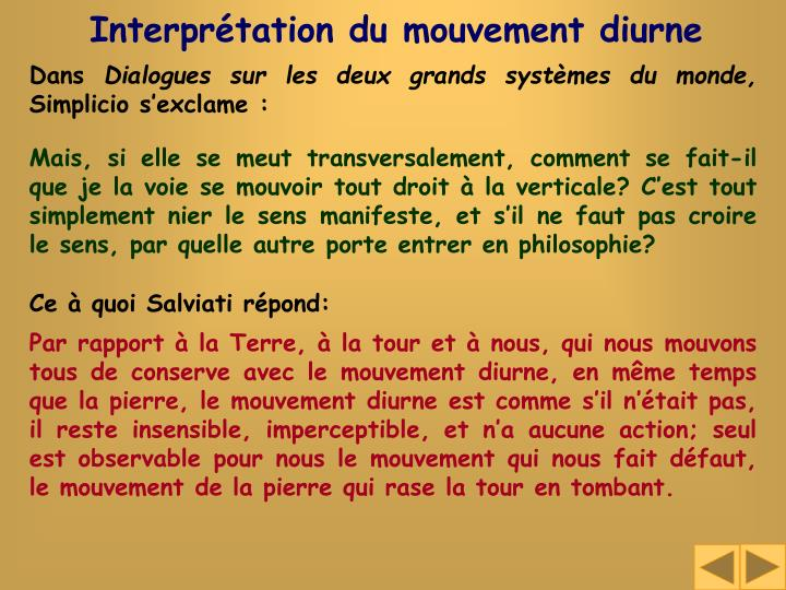 Interprétation du mouvement diurne