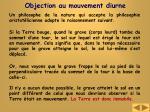objection au mouvement diurne