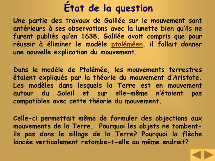État de la question