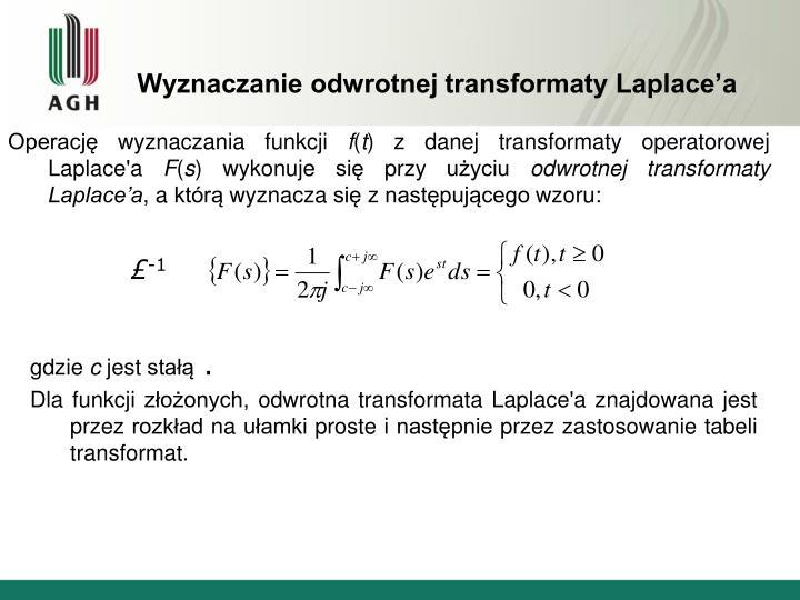 Wyznaczanie odwrotnej transformaty Laplace'a