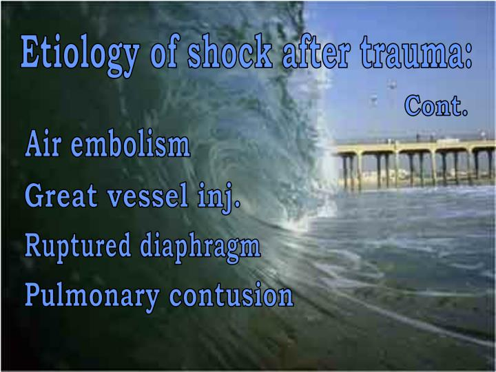 Etiology of shock after trauma: