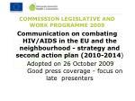 commission legislative and work programme 2009