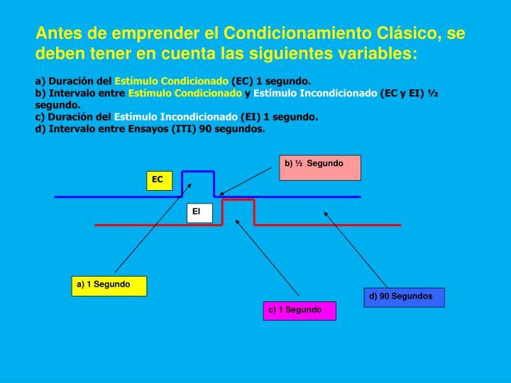 Antes de emprender el Condicionamiento Clásico, se deben tener en cuenta las siguientes variables: