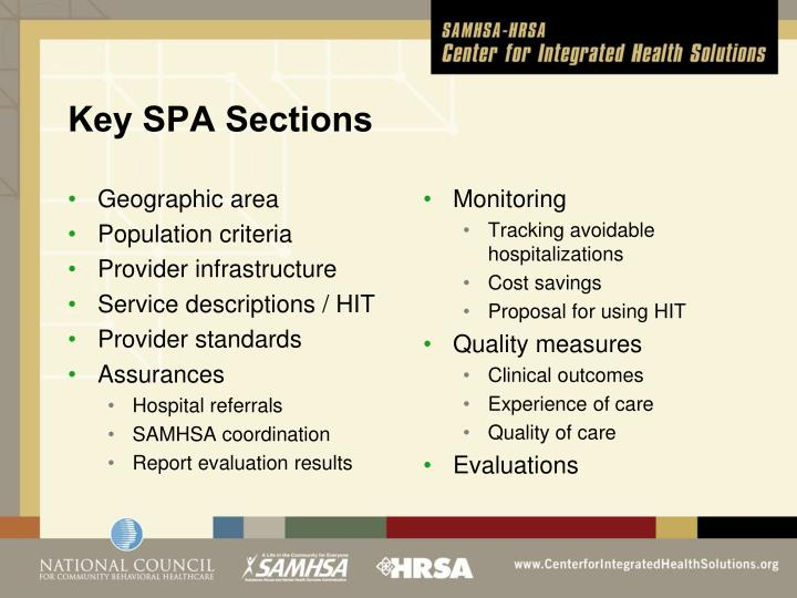 Key SPA Sections