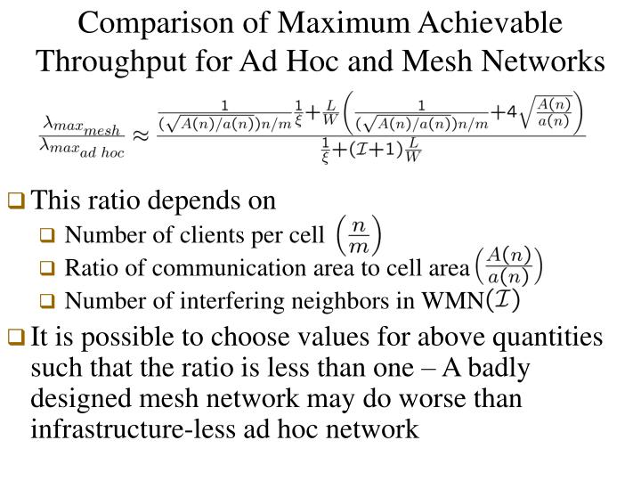 Comparison of Maximum Achievable Throughput for Ad Hoc and Mesh Networks