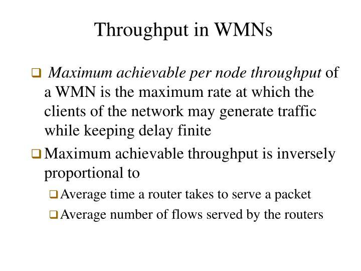 Throughput in WMNs