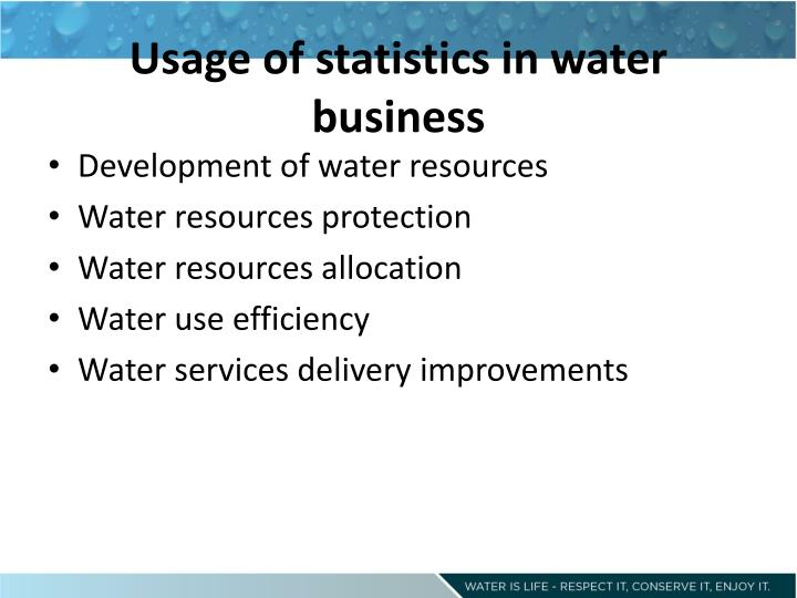 Usage of statistics in water business