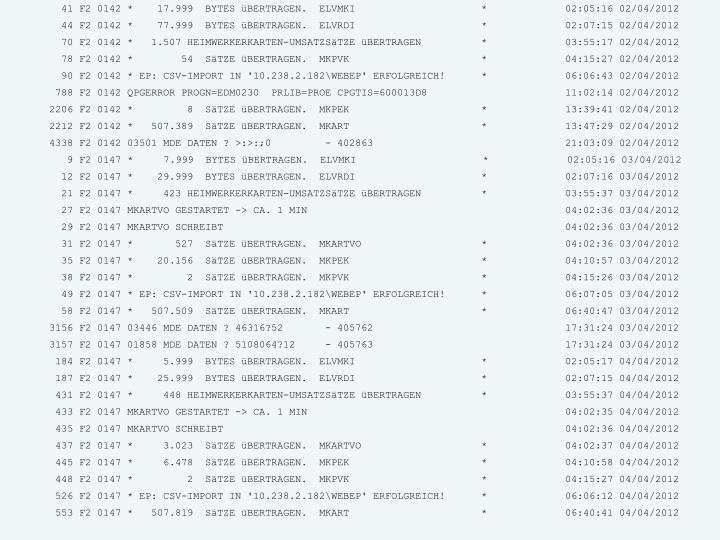 41 F2 0142 *    17.999  BYTES üBERTRAGEN.  ELVMKI                     *             02:05:16 02/04/2012