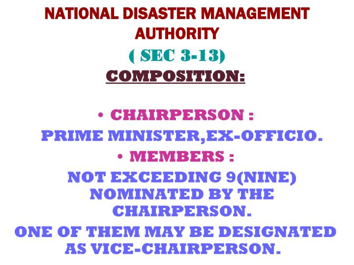 National disaster management authority sec 3 13