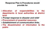 response plan procedures wou ld provide for