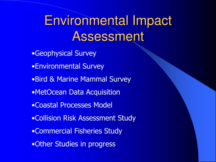 environmental impact assessment Reduce the site's environmental impact in the areas of cod, hazardous & non-hazardous waste, sox & co 2 emissions and water & energy consumption.
