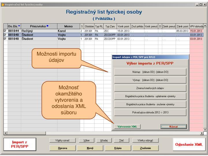Možnosti importu údajov