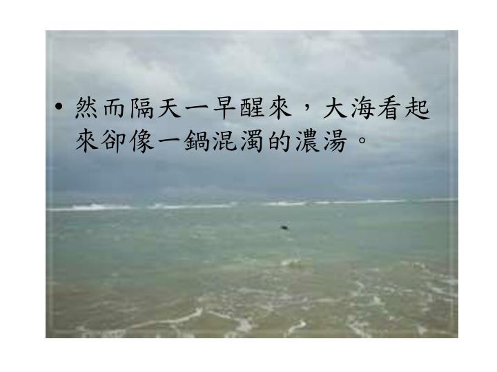 然而隔天ㄧ早醒來,大海看起來卻像一鍋混濁的濃湯。