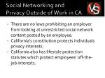 social networking and privacy outside of work in ca