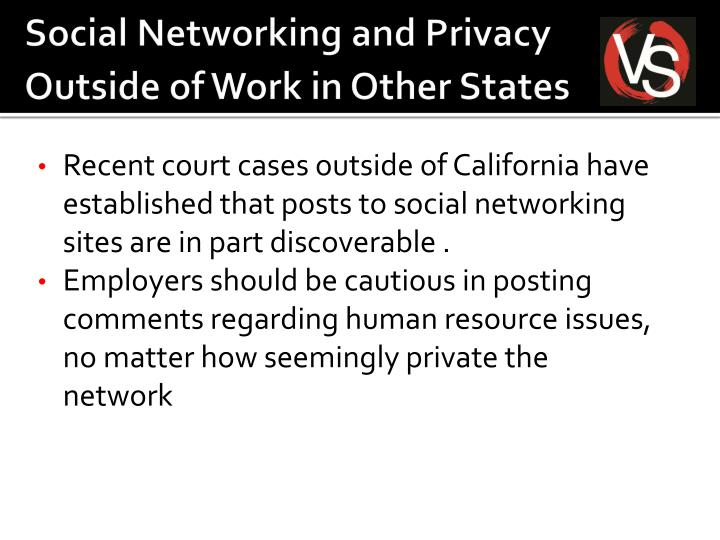 Social Networking and Privacy Outside of Work in Other States