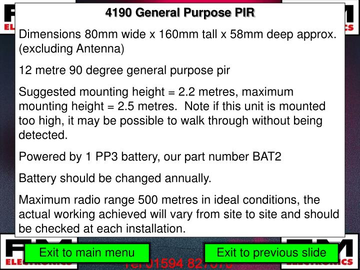 4190 General Purpose PIR