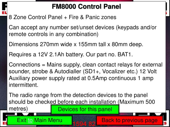 FM8000 Control Panel