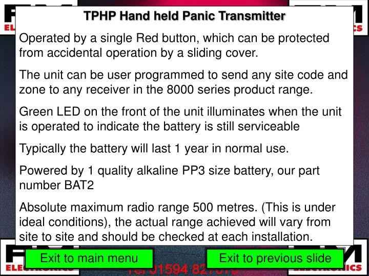 TPHP Hand held Panic Transmitter