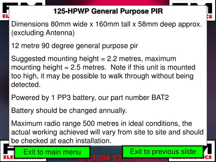 125-HPWP General Purpose PIR
