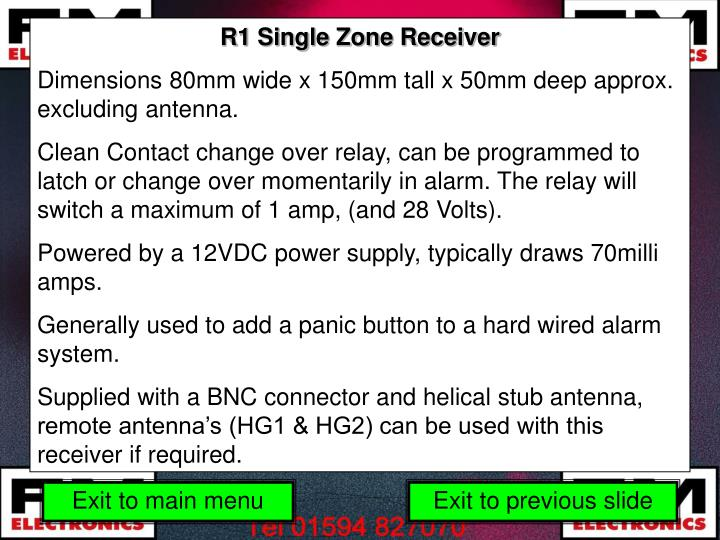 R1 Single Zone Receiver