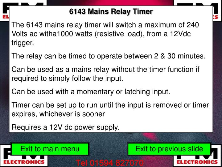 6143 Mains Relay Timer