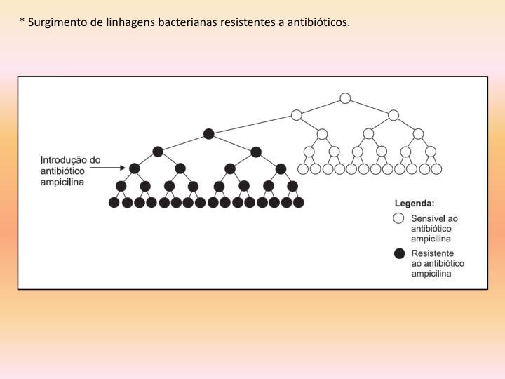 * Surgimento de linhagens bacterianas resistentes a antibióticos.