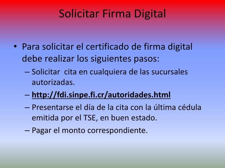 Solicitar Firma Digital