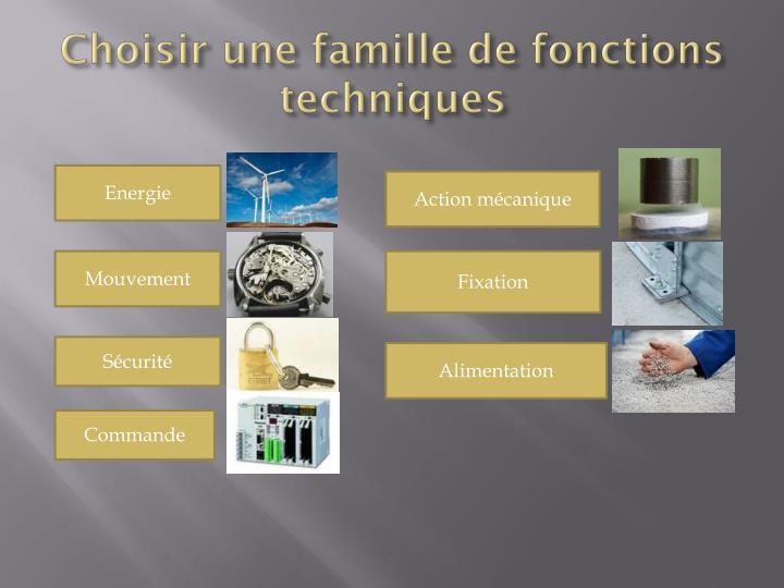 Choisir une famille de fonctions techniques