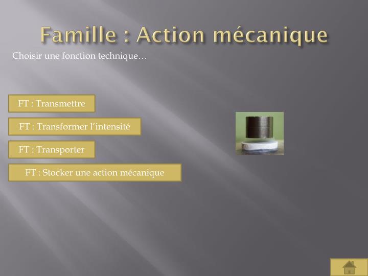 Famille : Action mécanique