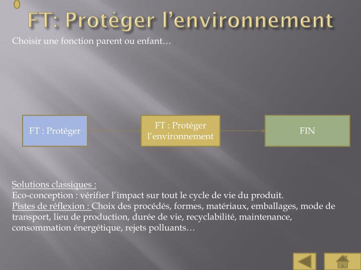 FT: Protéger l'environnement