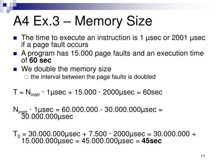 A4 Ex.3 – Memory Size