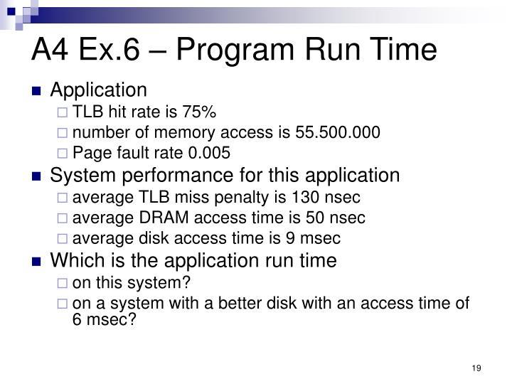 A4 Ex.6 – Program Run Time